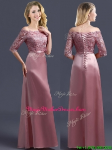 Sweet Off the Shoulder Half Sleeves Mother Of The Bride Dresses with Lace and Belt