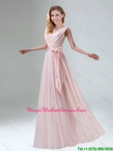 2016 Fashionable Belt Ruching Chiffon Mother Of The Bride Dresses with Bowknot
