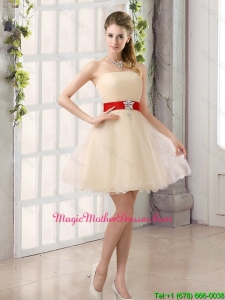 2016 Cheap A Line Belt Strapless Mother Of The Bride Dresses with Mini Length