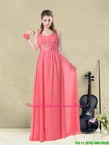 2016 Cheap Hot Straps Floor Length Mother Of The Bride Dress with Belt