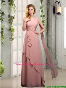 2016 Cheap One Shoulder Empire Mother Of The Bride Dresses with Ruching