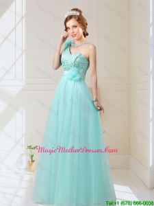 2016 Cheap Empire Lace Up Hand Made Flowers Mother Of The Bride Dresses in Mint