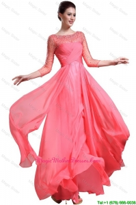 Beautiful Bateau Coral Red Mother Dresses with 3/4-length Sleeves