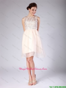 Luxurious Lace Scoop Short Baby Pink Mother Dresses for 2016