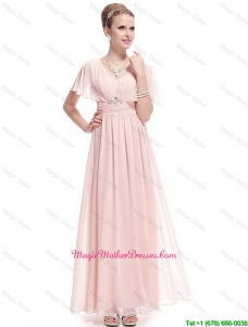 New Style V Neck Mother Dresses with Short Sleeves