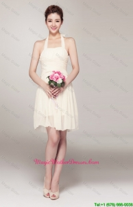 Beautiful Halter Top Short Mother Dresses in Champagne