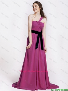 Comfortable One Shoulder Ruching and Belt Hot Pink Mother Dress for 2016