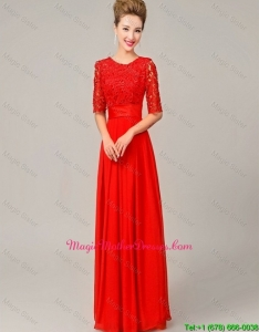 Fashionable Scoop Laced Red Mother Dresses with Half Sleeves