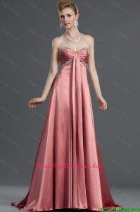 Most Popular Beading Elastic Woven Satin Mother Dresses with Brush Train