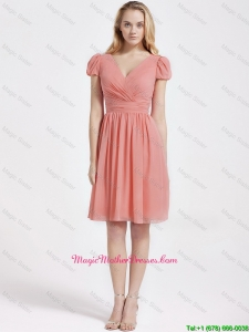 Perfect Short Ruching and Belt Watermelon Red Mother Dresses
