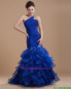 Pretty One Shoulder Ruffled Layers Mother Gowns with Mermaid