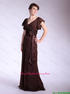 Elegant Belt and Bowknot Brown Mother Dresses with Brush Train