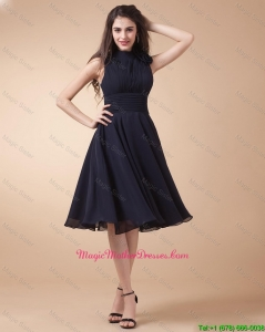 Elegant High Neck Hand Made Flowers Mother Gowns in Navy Blue