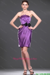 Delicate Eggplant Purple Short Mother Dress with Belt and Bowknot