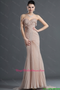 Gorgeous Mermaid Brush Train Pleats Mother Of The Bride Dresses in Champagne