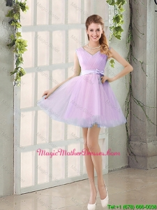 2016 Summer V Neck Strapless Mother Of The Bride Dresses with Bowknot