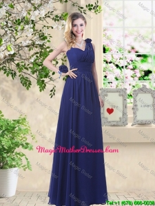 Classical Hand Made Flowers Mother Of The BrideDresses with Asymmetrical