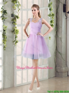 2016 Summer A Line Straps Ruching Mother Of The Bride Dresses with Hand Made Flowers