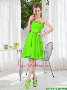 A Line Strapless Bowknot Custom Made Mother Of The Bride Dresses in Spring Green