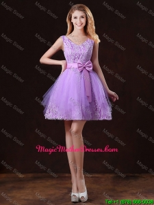 Classic V Neck Tulle Mother Of The Bride Dresses with Bowknot