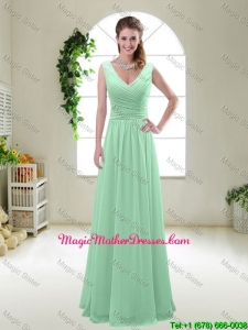 New Style 2016 Zipper up Mother Of The Bride Dresses with V Neck