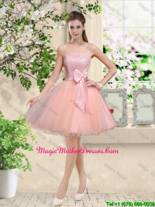 Popular Strapless Mini Length Mother Of The Bride Dresses with Appliques and Bowknot
