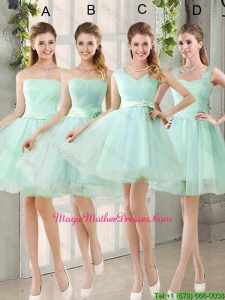 2016 Spring A Line Ruching Mother Of The Bride Dresses with Belt in Apple Green