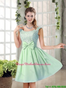 Elegant A Line Straps Lace Mother Of The Bride Dresses with Bowknot