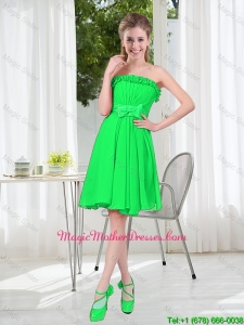Romantic A Line Strapless 2016 Mother Of The Bride Dresses with Bowknot