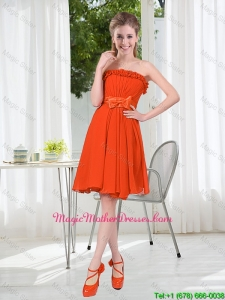 Summer A Line Strapless Bowknot Mother Of The Bride Dress in Rust Red