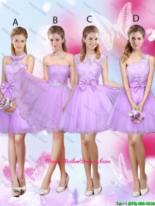 Sophisticated A Line Lavender Mother Of The Bride Dresses with Lace and Bowknot