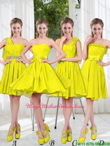 2016 Summer Simple One Shoulder Mother Of The Bride Dresses in Yellow Green