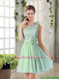 Custom Made One Shoulder Lace 2016 Mother Of The Bride Dresses with Bowknot