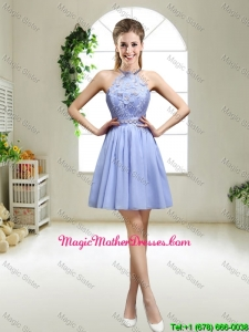 Pretty Lavender Halter Top Mother Of The Bride Dresses with Appliques for 2016