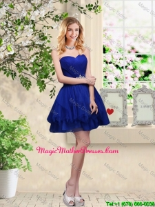 Simple Sweetheart Royal Blue Mother Of The Bride Dresses with Belt