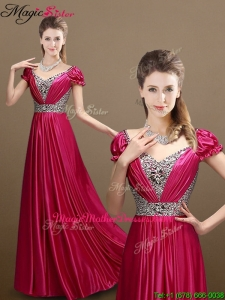 Pretty Empire V Neck Beading Mother Of The Bride Dresses with Short Sleeves
