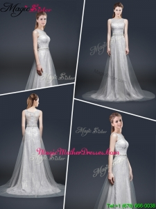Elegant Empire Bateau Mother Of The Bride Dresses with Brush Train