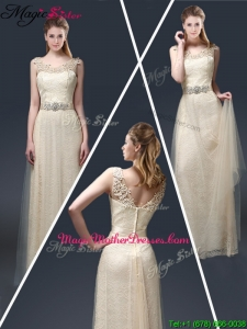 Empire Lace Mother Of The Bride Dresses with Appliques in Champagne