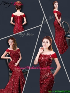 Winter Mermaid Off the Shoulder Sequins Mother Of The Bride Dresses in Wine Red