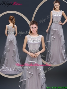 Exquisite Brush Train Scoop Mother Of The Bride Dresses with Appliques