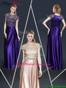 Empire Bateau Mother Of The Bride Dresses with Appliques and Belt