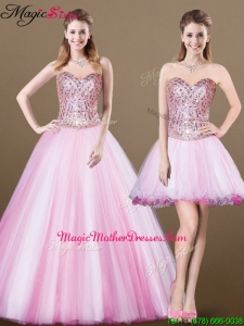 Lovely A Line Sweetheart Beading Detachable Mother Of The Bride Dresses for 2016