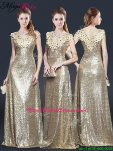 Perfect V Neck Sequins Mother Of The Bride Dresses in Champagne