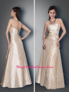 2016 Classical Empire Champagne Lace Up Mother of The Bride Dress with Appliques