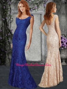 2016 Luxurious Column Scoop Mother of The Bride Dress in Lace