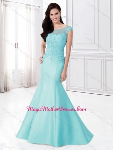2016 Mermaid Bateau Cap Sleeves Mother of The Bride Dress with Appliques