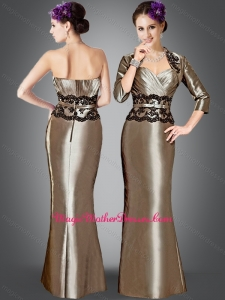 2016 Elegant Column Mother of The Bride Dress with Appliques and jacket