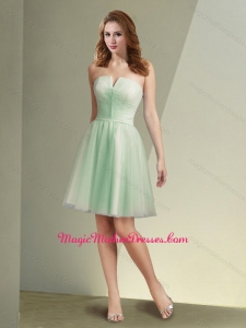 2016 Pretty Short Strapless Apple Green Mother of The Bride Dress with Ruching