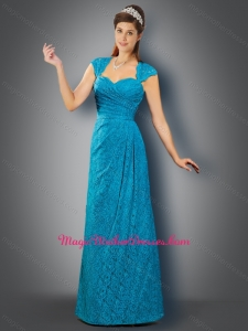 2016 Romantic Cap Sleeves Teal Mother of The Bride Dress in Lace