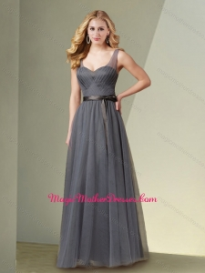 2016 Beautiful Column V Neck Grey Mother of The Bride Dress with Ribbons